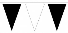 Black and White Traditional 20m 54 Flag Polyester Triangle Flag Bunting